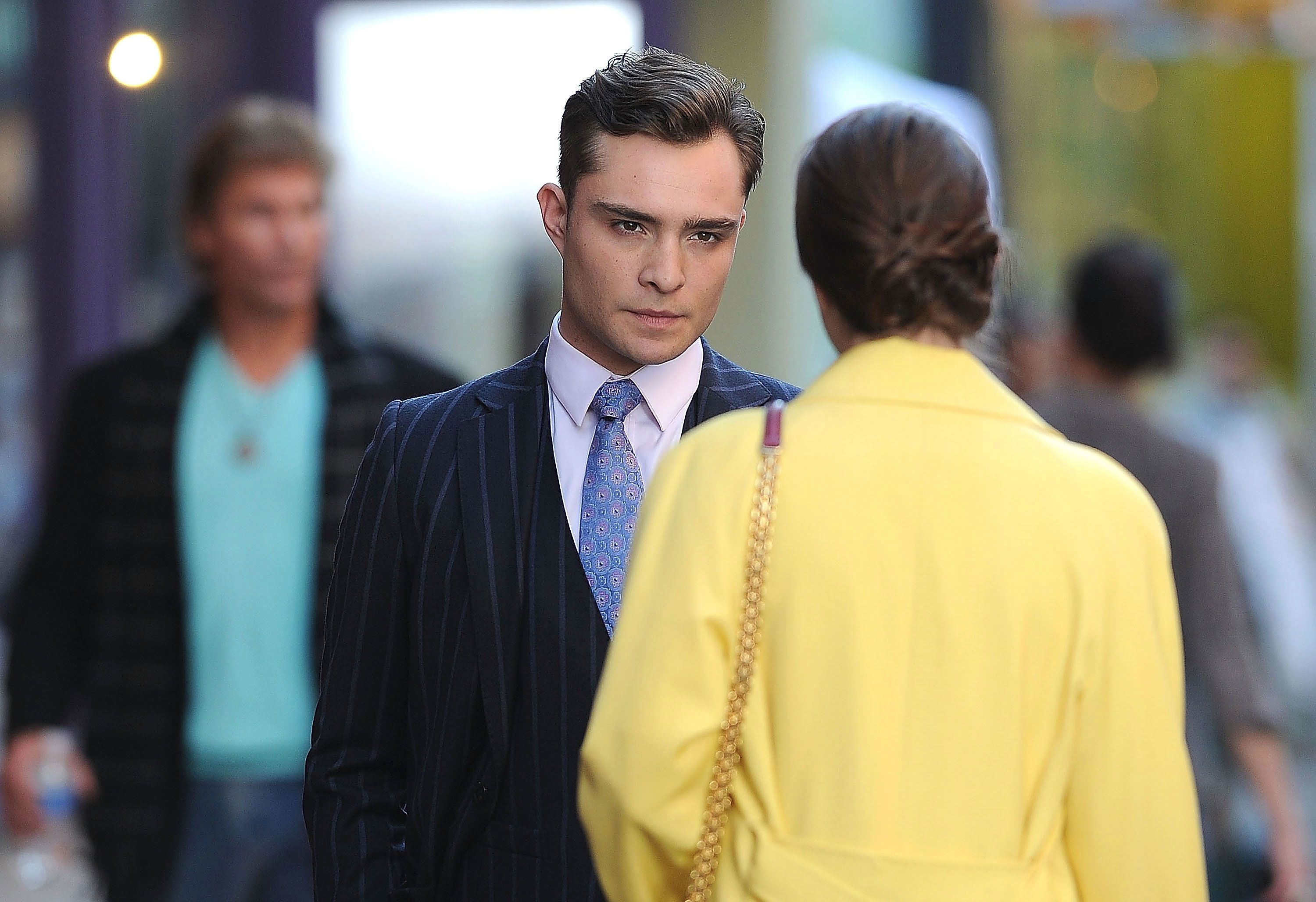 """Ed Westwick and Leighton Meester film scenes for """"Gossip Girl"""" in 2012."""