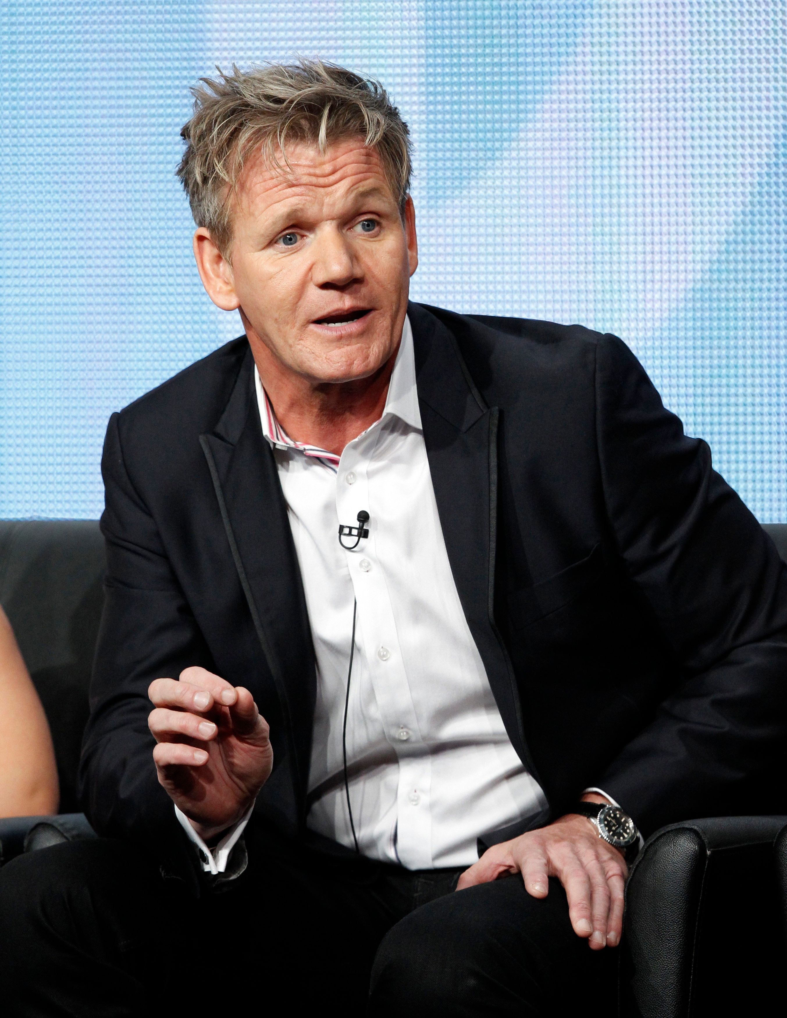 """Judge and executive producer Gordon Ramsay speaks at a panel for the television show """"Master Chef Junior"""" during the Fox portion of the Television Critics Association Summer press tour in Beverly Hills, California August 1, 2013.   REUTERS/Mario Anzuoni  (UNITED STATES - Tags: ENTERTAINMENT)"""