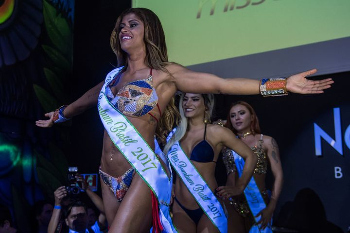 Rosie Oliveira from Amazonas reacts after winning the Miss Bumbum Brazil 2017 pageant.