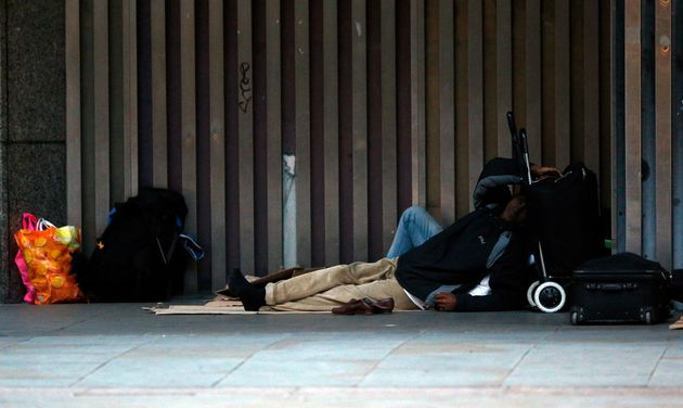 A person sleeps rough in