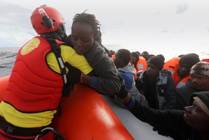 Migrant women off coast of Libya