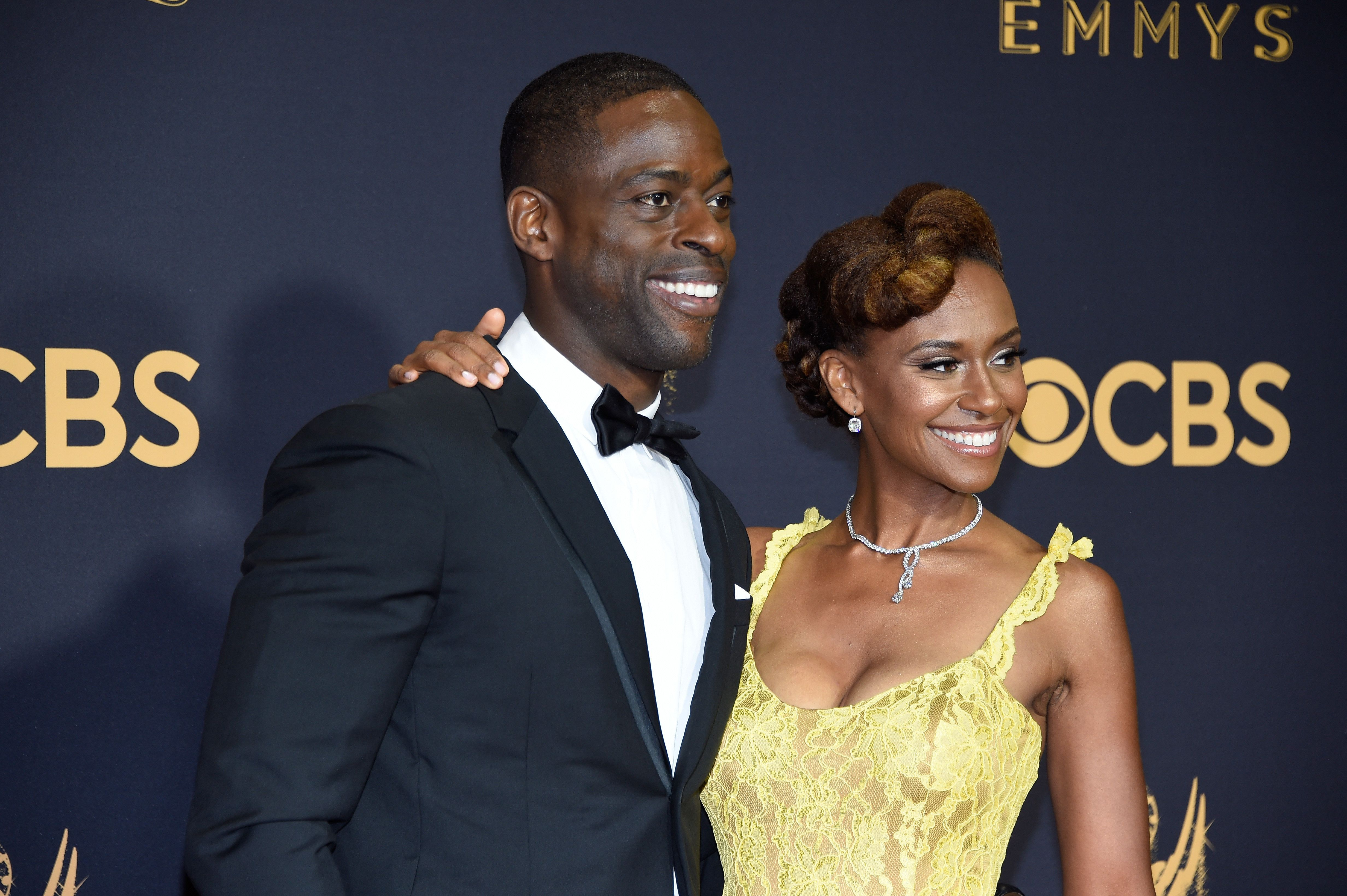 LOS ANGELES, CA - SEPTEMBER 17:  Sterling K. Brown and Ryan Michelle Bathe attend the 69th Annual Primetime Emmy Awards at Microsoft Theater on September 17, 2017 in Los Angeles, California.  (Photo by Kevin Mazur/WireImage)