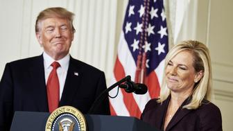 Kirstjen Nielsen, U.S. secretary of Homeland Security nominee, smiles after an introduction from U.S. President Donald Trump at the White House in Washington, D.C., U.S., on Thursday, Oct. 12, 2017. Trumpannounced his nomination of Kirstjen Nielsen, a top aide to White House Chief of StaffJohn Kelly, to succeed him as secretary of Homeland Security. Photographer: T.J. Kirkpatrick/Bloomberg via Getty Images