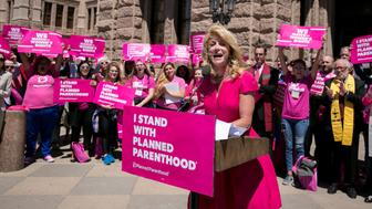 Former Texas State Senator Wendy Davis speaks during a Planned Parenthood rally outside the State Capitol in Austin, Texas, U.S., April 5, 2017.    REUTERS/Ilana Panich-Linsman