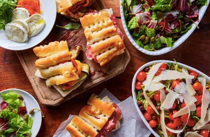 Lunch options include sandwiches and salads.