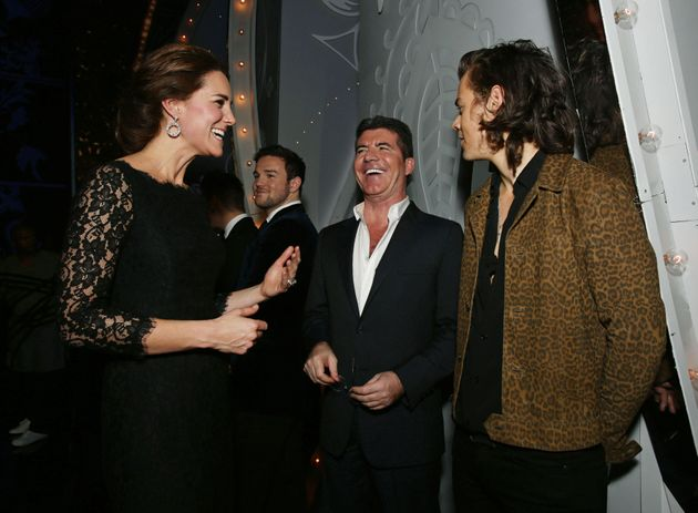 Catherine, Duchess of Cambridge meets Simon Cowell and Harry Styles of One Direction at the end of The...