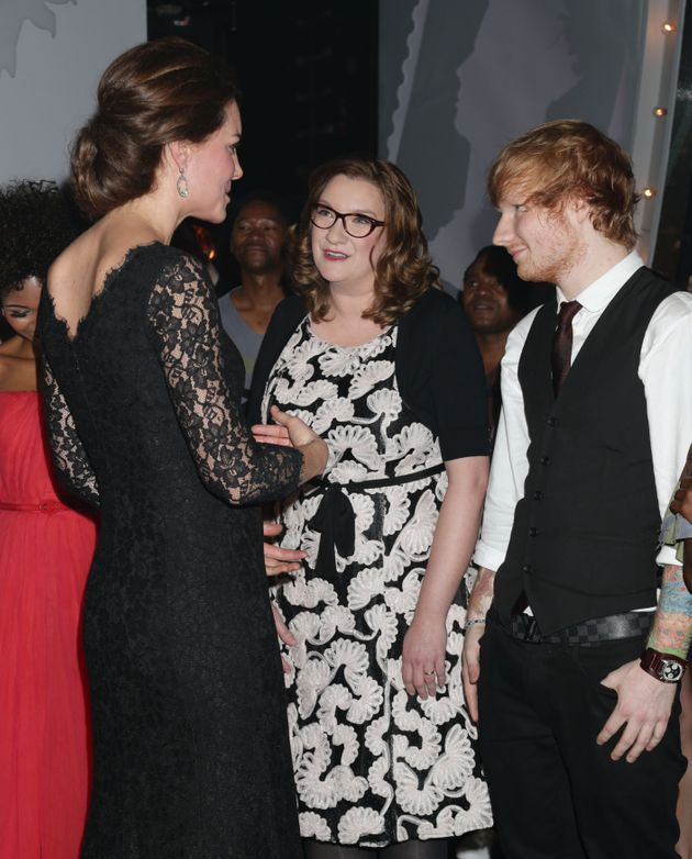 Catherine, Duchess of Cambridge meets Sarah Millican and Ed Sheeran at the end of The Royal Variety Performance...