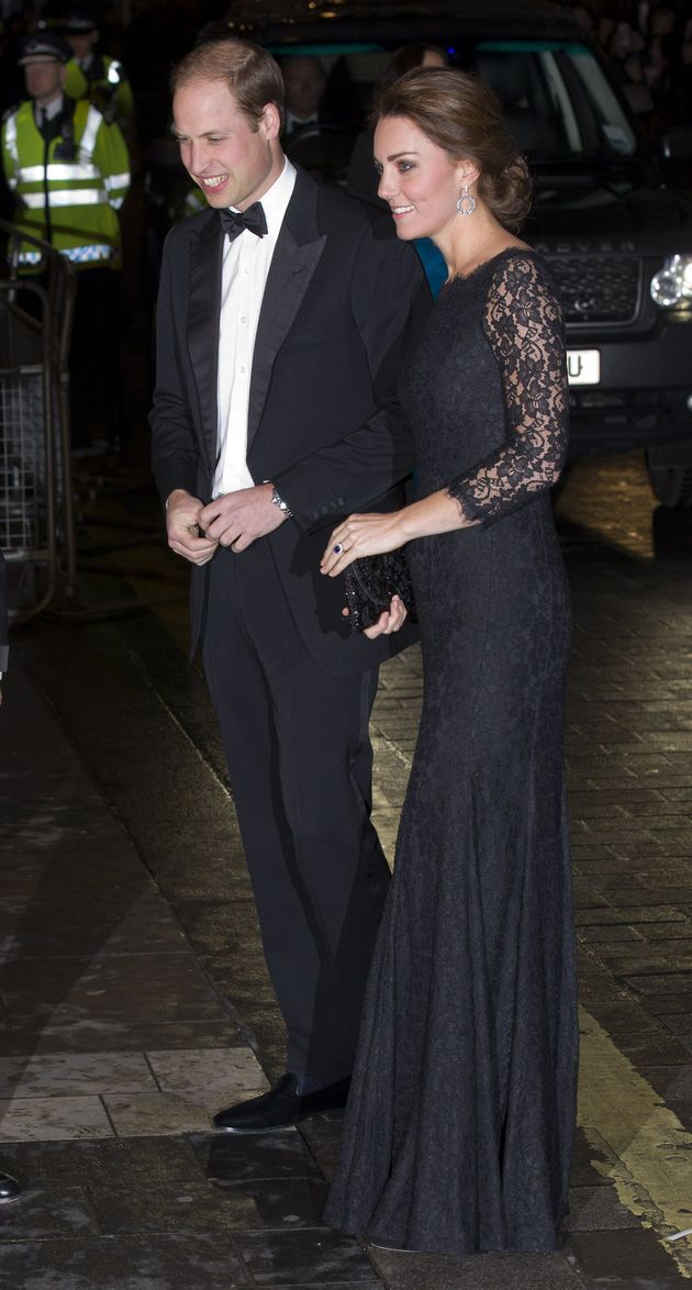 Catherine, Duchess of Cambridge and Prince William, Duke of Cambridge arrive to attend the Royal Variety...