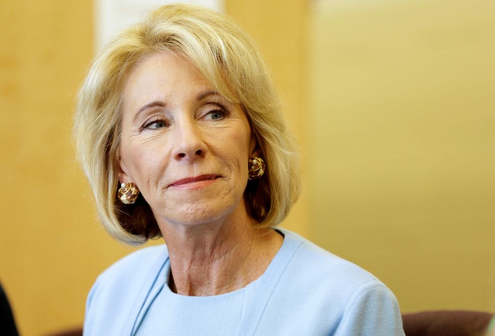 Secretary of Education Betsy DeVos has pushed for a federal school voucher program and tax funding of religious schools.