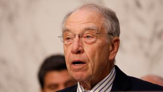 Senator Chuck Grassley (R-IA) asks a question during a Judiciary Committee hearing into alleged Russian meddling in the 2016 election on Capitol Hill in Washington, U.S., July 26, 2017. REUTERS/Aaron P. Bernstein