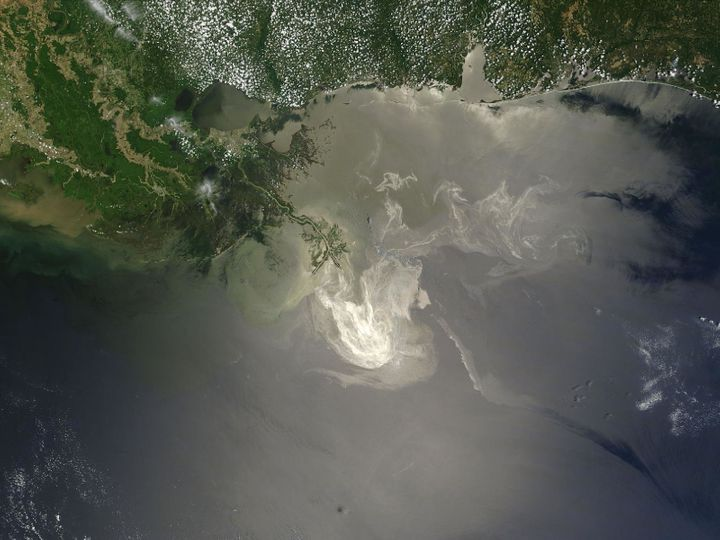 NASA's Terra satellite photo on May 24, 2010, shows the lingering oil slick from the Deepwater Horizon spill off t