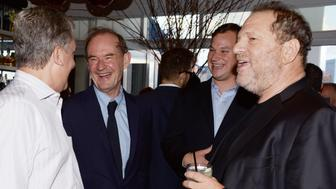 NEW YORK, NY - JULY 24: (L-R) Arthur Sulzbeger, David Boies, Guest and Harvey Weinstein attend Cocktail party to celebrate ASP - The World Surf League at Jimmy at the James Hotel on July 24, 2014 in New York City. (Photo by Clint Spaulding/Patrick McMullan via Getty Images)