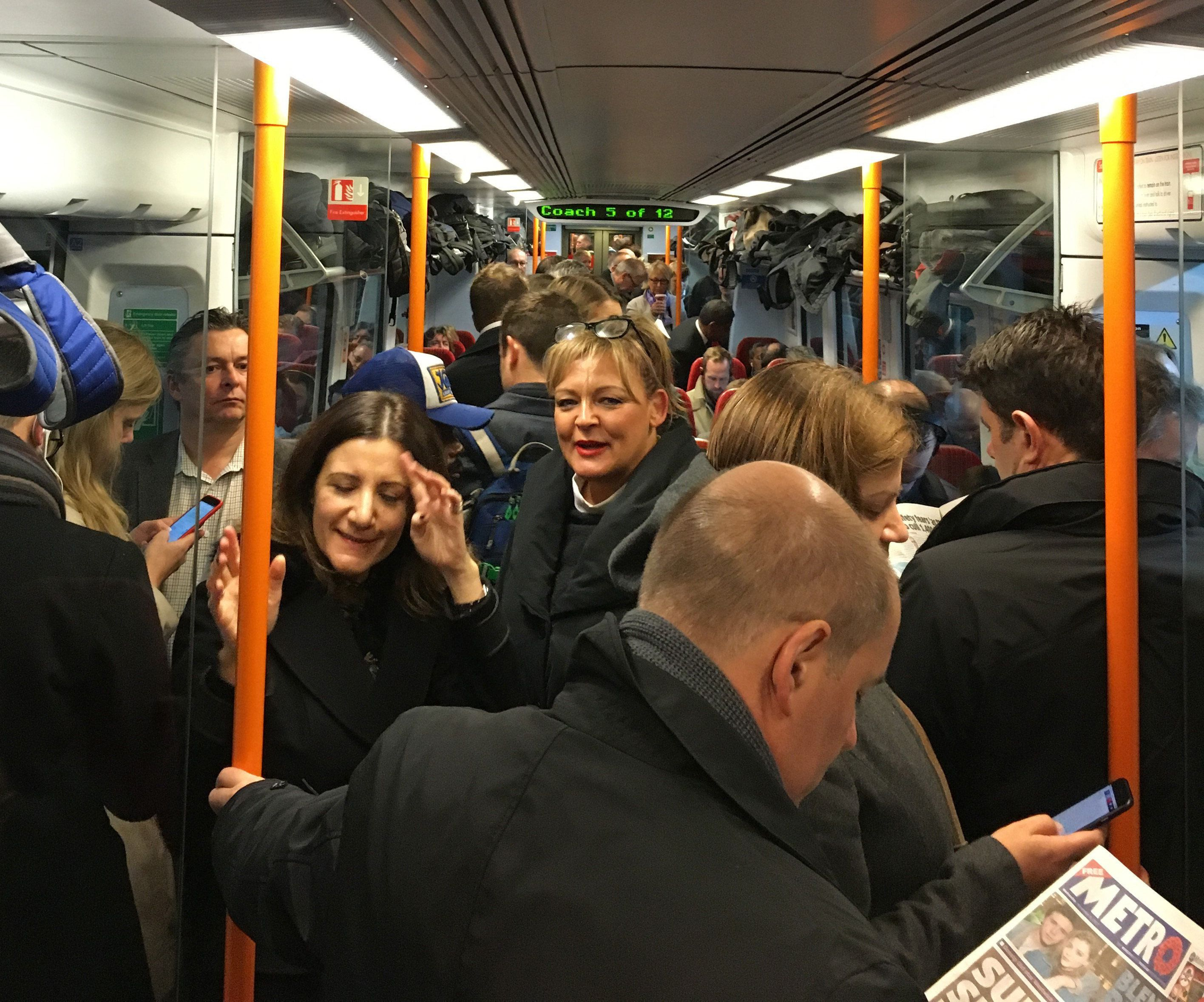 <strong>Commuters ride a crowded South Western Railway train from Portsmouth to London as rail services are hit by the biggest disruption in decades as workers strike&nbsp;</strong>