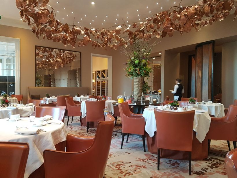 Michelin-starred Restaurant Coworth Park, which serves a tasting menu at dinner, Sunday lunch, and a farm-fresh breakfast, wh