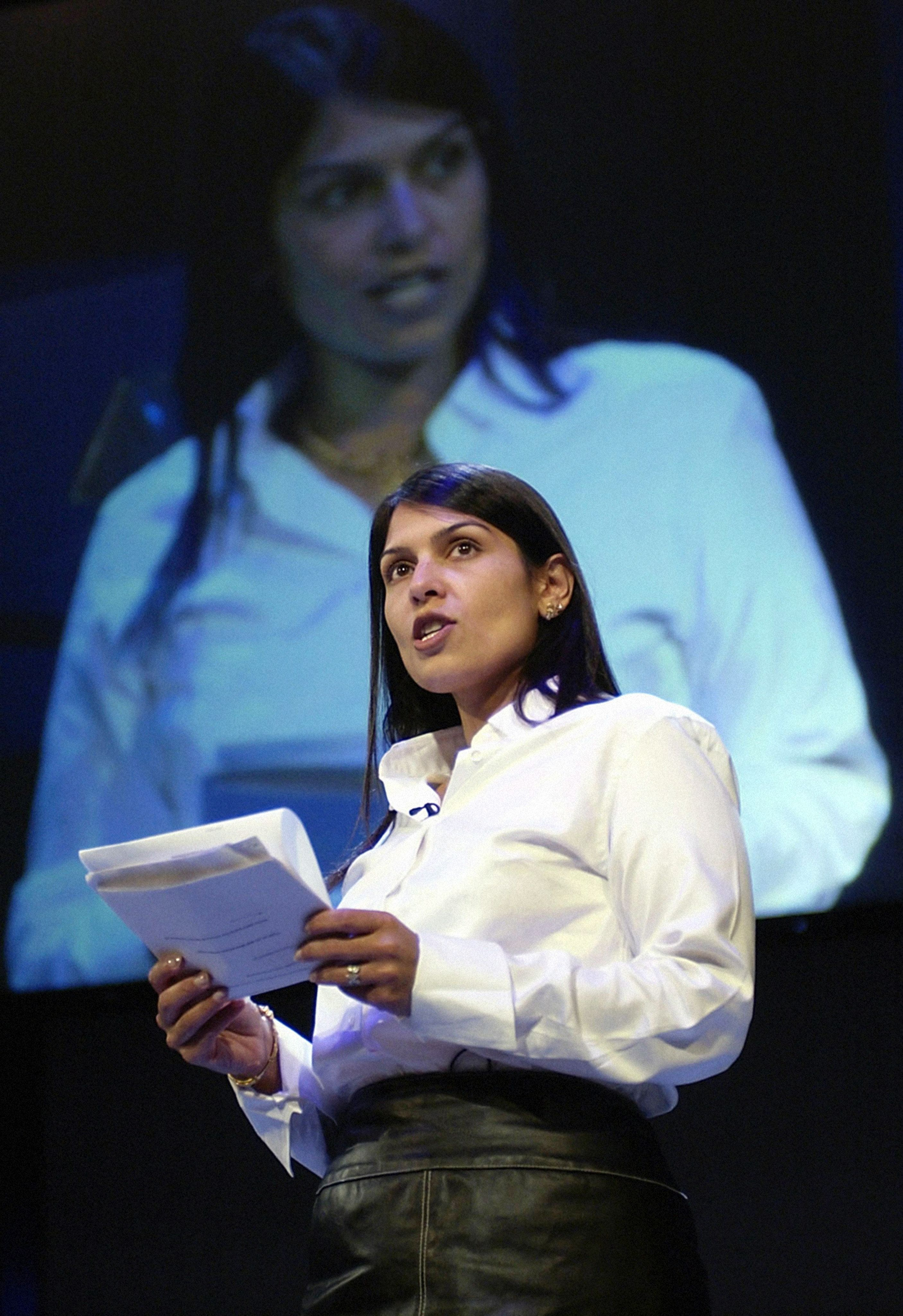 <i>Priti Patel at the Conservative Party Conference in Bournemouth in 2002.</i>