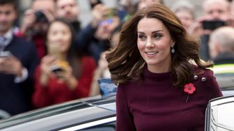 LONDON, ENGLAND - NOVEMBER 08:  Catherine, Duchess of Cambridge during the annual Place2Be School Leaders Forum at UBS London on November 8, 2017 in London, England.  The Duchess of Cambridge is Patron of Place2Be, a National Children's mental health charity.  (Photo by Mark Cuthbert/UK Press via Getty Images)