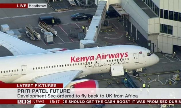 Priti Patel's flight from Africa live on BBC News as it landed at London