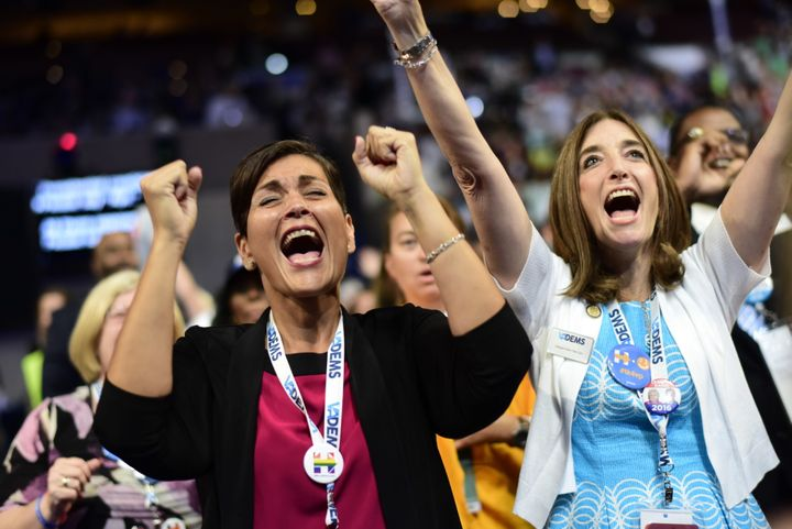 Virginia delegates Hala Ayala (Left) and Eileen Filler (right) celebrate the nomination of Vice Presidential Candidate Tim Ka