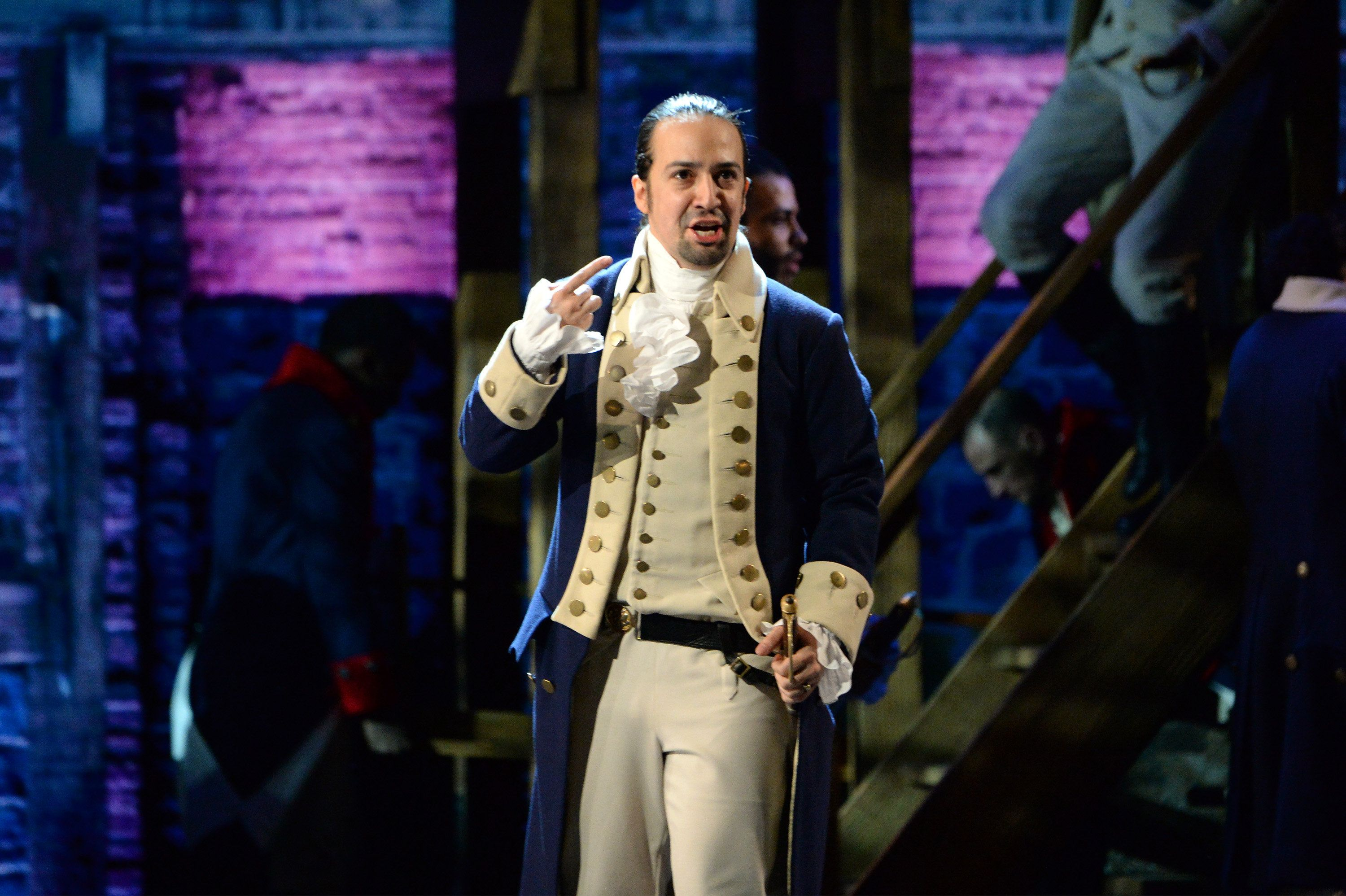 NEW YORK, NY - JUNE 12:  Lin-Manuel Miranda of 'Hamilton' performs onstage during the 70th Annual Tony Awards at The Beacon Theatre on June 12, 2016 in New York City.  (Photo by Kevin Mazur/Getty Images for Tony Awards Productions)