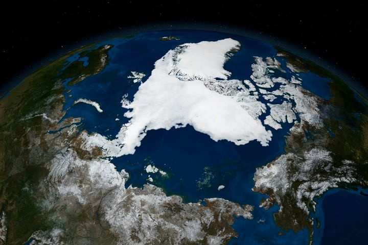 A satellite image of Arctic sea ice at record-low levels in 2007.