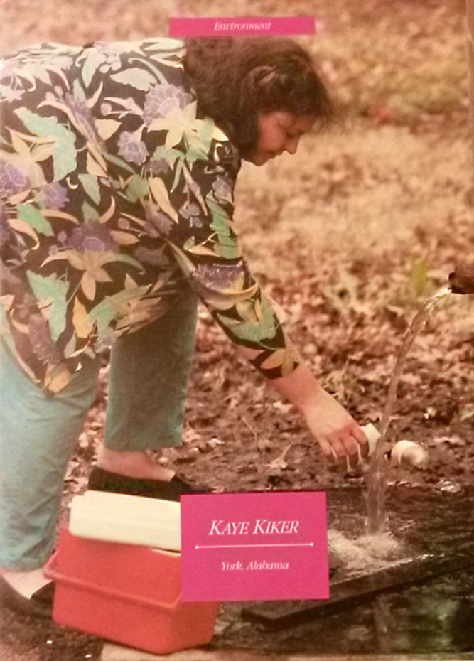 <em>Kaye Kiker taking groundwater samples from an artesian well next to the CWM toxic waste dump in Sumter County, AL in 1990