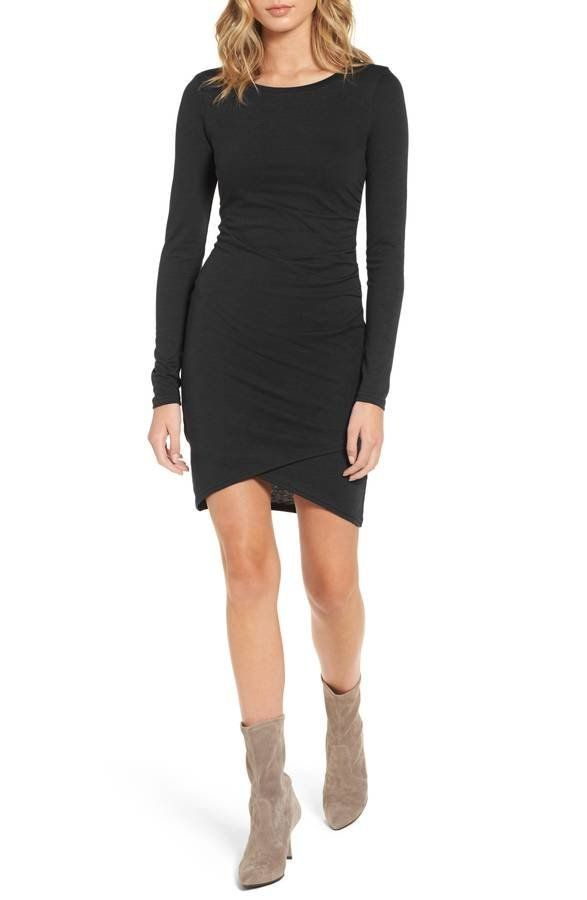 """It's a flattering design that <a href=""""https://shop.nordstrom.com/s/leith-ruched-long-sleeve-dress-nordstrom-online-exclusive"""