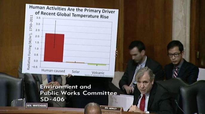A staffer for Sen. Jeff Merkley (D-Ore.) holds up a sign citing data from the federal government's latest climate&n