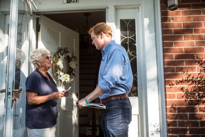 Democrat Chris Hurst campaigns for a state House seat in southwest Virginia. The former TV anchor unseated a three-
