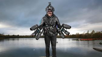 EMBARGOED TO 0001 THURSDAY NOVEMBER 9EDITORIAL USE ONLYRichard Browning, founder and pilot at Gravity Industries Ltd, sets the Guinness World Record for 'the fastest speed in a body-controlled jet engine power suit', at Lagoona Park in Reading, in celebration of Guinness World Records Day 2017. PRESS ASSOCIATION Photo. Issue date: Thursday November 9, 2017. Photo credit should read: Matt Alexander/PA Wire