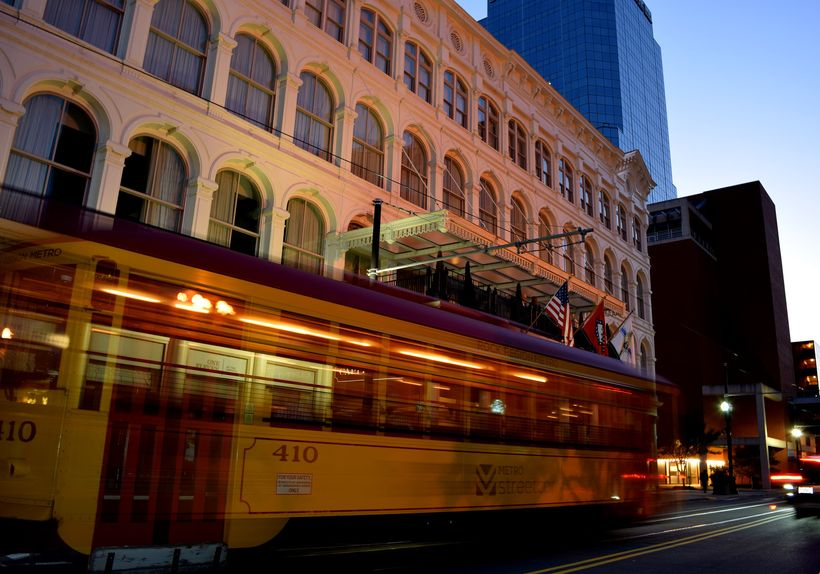 Street cars and October sunsets at The Capital Hotel in Little Rock, AK