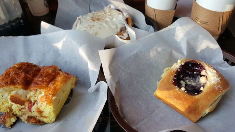 Blueberry kolache, cinnamon roll, and egg casserole at Nashville's Yeast Bakery