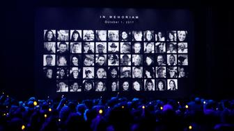 51st Country Music Association Awards – Show - Nashville, Tennessee, U.S., 08/11/2017 - Images of those killed in the October 1, 2017 mass shooting in Las Vegas, Nevada, are shown during the in memoriam segment of the show. REUTERS/Mario Anzuoni