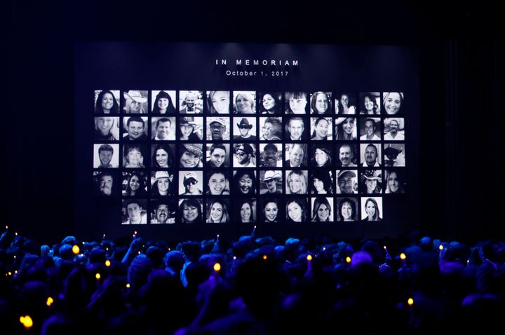 The Country Music Association Awards featured images of those killed in the October 1, 2017 mass shooting in Las Ve