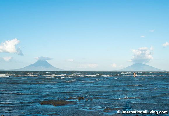 View of Ometepe Island with Concepcion Volcano on the left and Maderas Volcano on the right. Photo taken from the shore of la