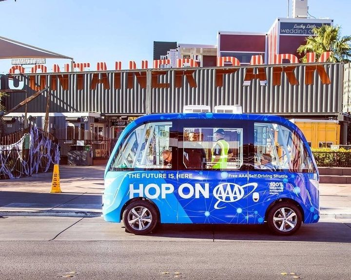 This driverless vehicle was involved in a fender bender during its first ride around Las Vegas on Wednesday.