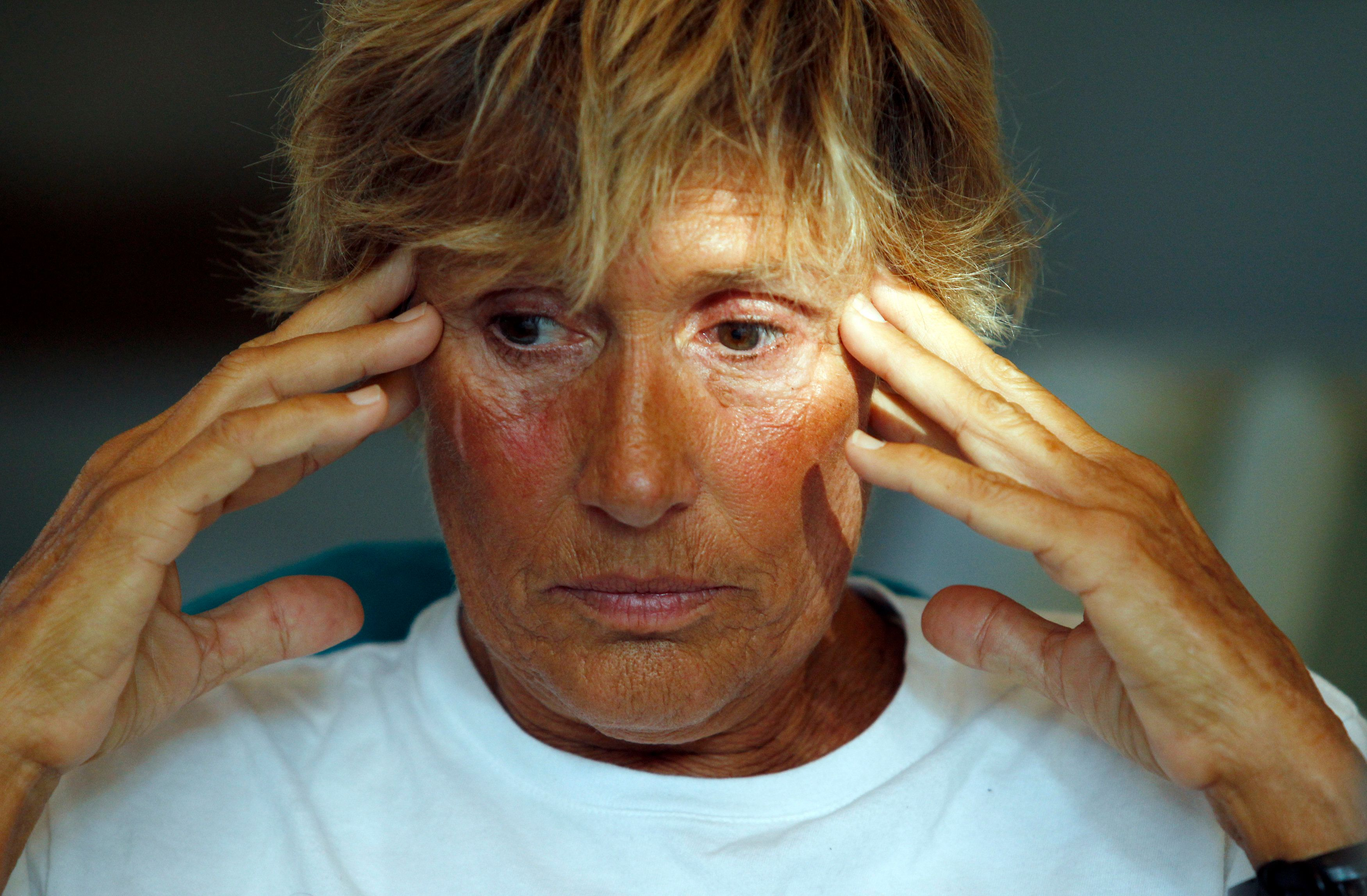U.S. long-distance swimmer Diana Nyad, meets with a group of fellow endurance swimmers to answer skeptics about her record-breaking crossing of the Florida Straits last week, on a conference call in Huntington Beach, California September 10, 2013. Nyad vigorously defended on Tuesday her record-breaking, 110-mile (177-km) swim from Cuba to southern Florida after skeptics raised questions about the grueling trek. A triumphant Nyad, 64, staggered ashore in Key West, Florida, on Sept. 2, after having swum about 53 hours, to become the first person to complete the treacherous crossing without a shark cage. Nyad's swim was her fifth attempt and only successful one. The highly publicized crossing sparked a social media debate about whether her journey meets the requirements to break the world record. REUTERS/Alex Gallardo  (UNITED STATES - Tags: SPORT SWIMMING TPX IMAGES OF THE DAY)