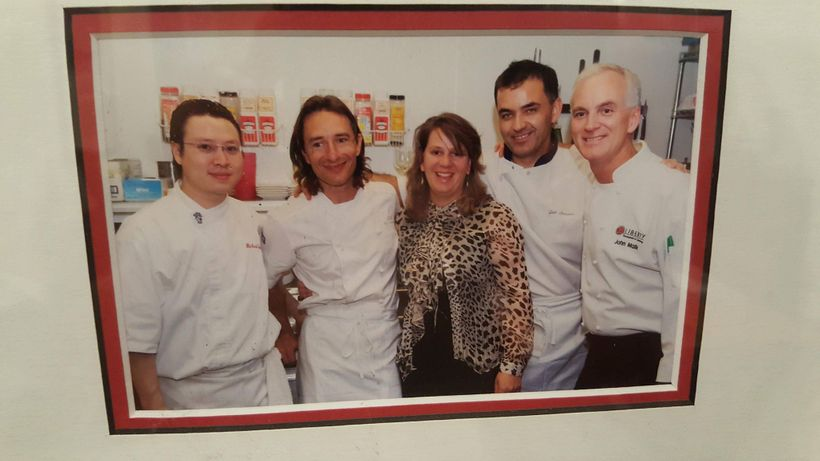 with Joel Antunes, his cook Hiro, chef Ben Berryhill, and my bride Amy at the five year anniversary of our own 33 Liberty