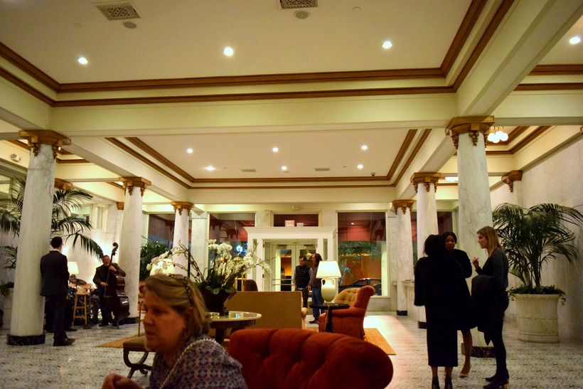 in the lobby of the Capital Hotel