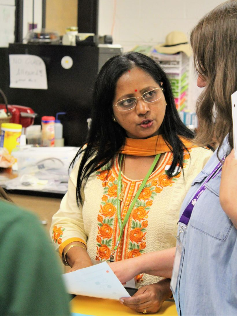 <em>Doli Chaudhuri (India) leads students at Ashe County High School in an interactive project on genetics </em>