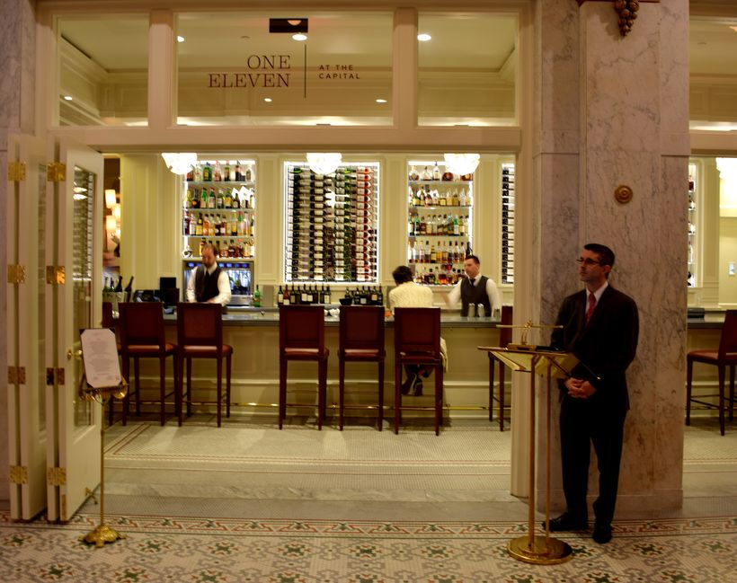 entrance to One Eleven Restaurant at The Capital Hotel