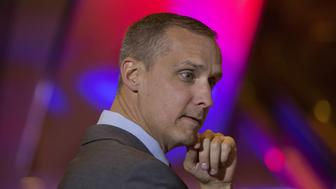 Corey Lewandowski, campaign manager for Donald Trump, president and chief executive of Trump Organization Inc. and 2016 Republican presidential candidate, not pictured, listens during an election night event in New York, U.S., on Tuesday, April 19, 2016. Trump, the billionaire real-estate mogul, got a major boost in his quest to secure the Republican nomination with a majority of delegates but could not eliminate the possibility of a contested convention. Photographer: Victor J. Blue/Bloomberg via Getty Images