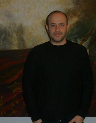 "Yevgeniy Fiks in front of his painting ""Leniniana No. 1,"" quoting the famous 1929 portrait of Lenin by Gerasimov—without Leni"