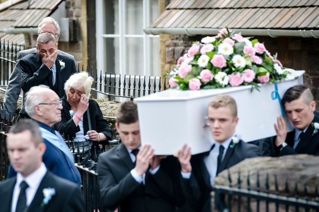 Father Darren Galsworthy with stepmother Anjie Galsworthy follow Becky's coffin during her funeral...