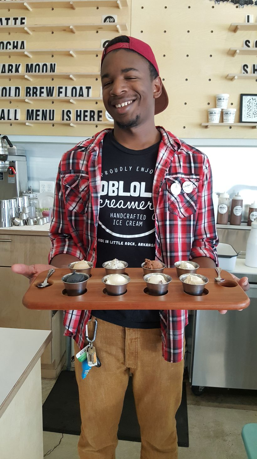 At Little Rock's Loblolly ice cream shop they serve ice cream flights. A FLIGHT of ice cream. What an awesome idea.