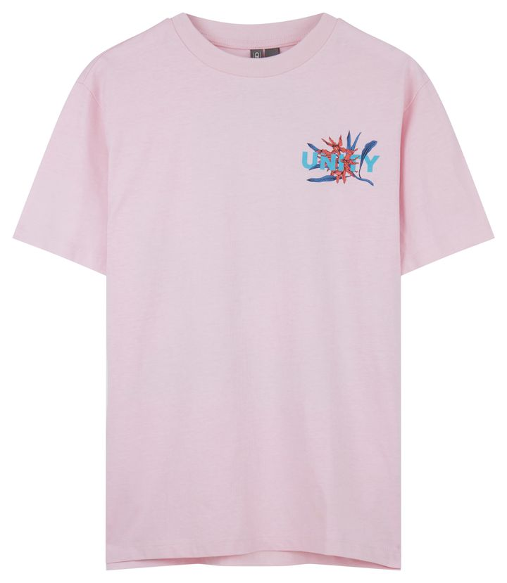 "ASOS x GLAAD <a href=""http://us.asos.com/asos/asos-x-glaad-relaxed-t-shirt-with-tropical-print/prd/8844819?clr=pink&amp;cid=27384&amp;pgesize=12&amp;pge=0&amp;totalstyles=12&amp;gridsize=3&amp;gridrow=2&amp;gridcolumn=2"" target=""_blank"">relaxed t-shirt with tropical print</a>, $29"