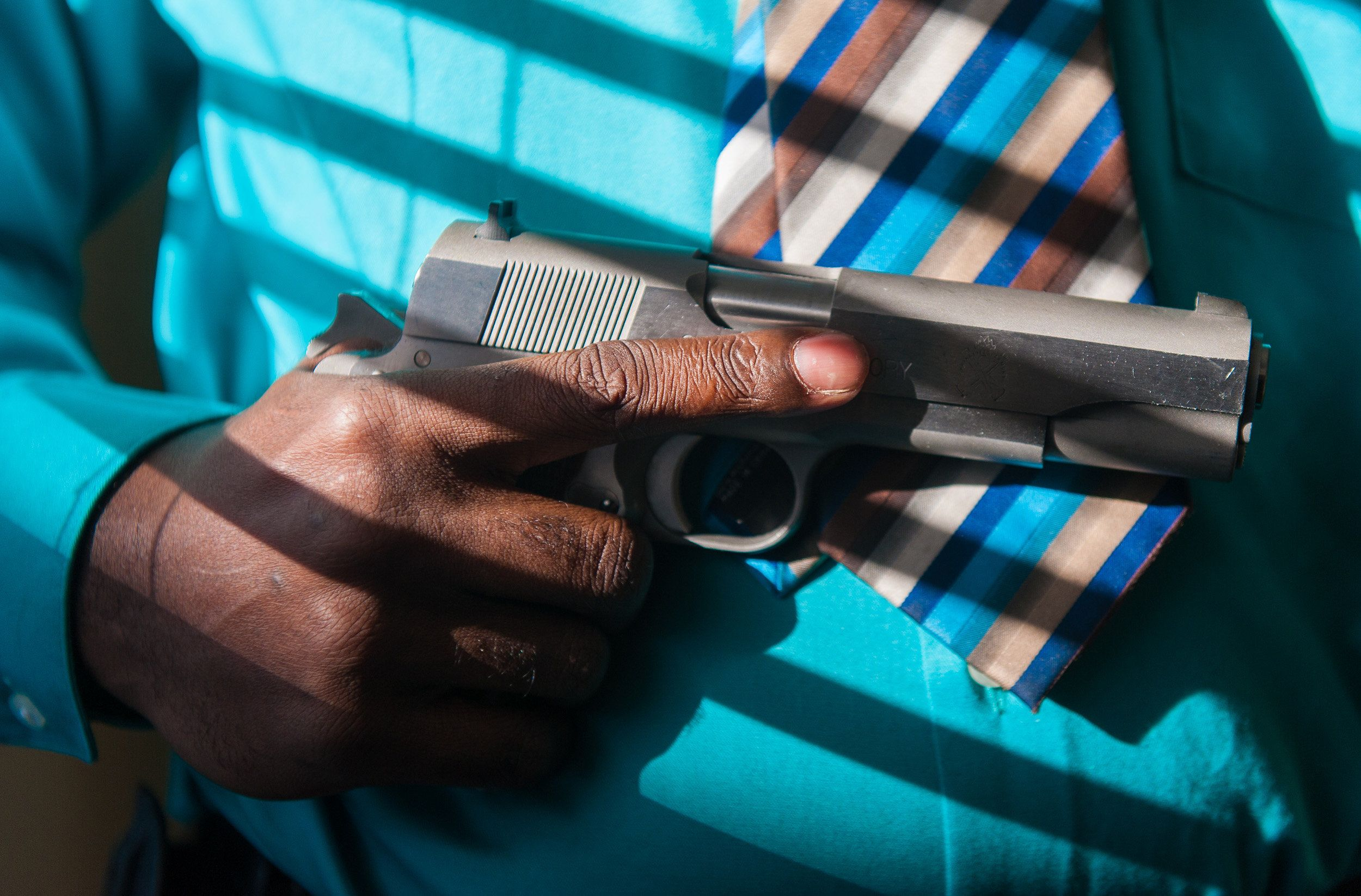 LeFlore, who works as an unarmed security guard, is an avid gun collector.