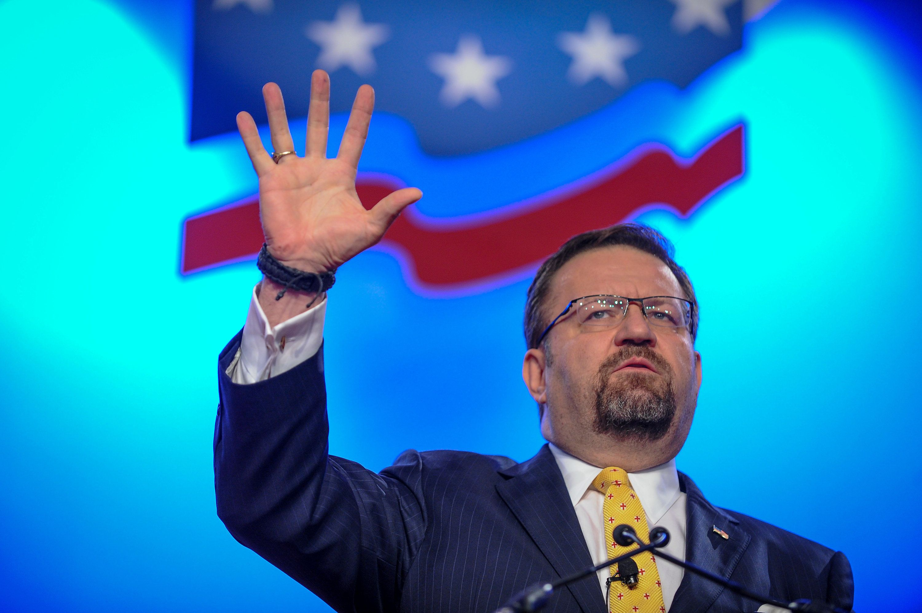Former deputy assistant to the U.S. president, Sebastian Gorka, delivers remarks during the Value Voters Summit at the Omni Shoreham Hotel in Washington, U.S., October 14, 2017. REUTERS/Mary F. Calvert