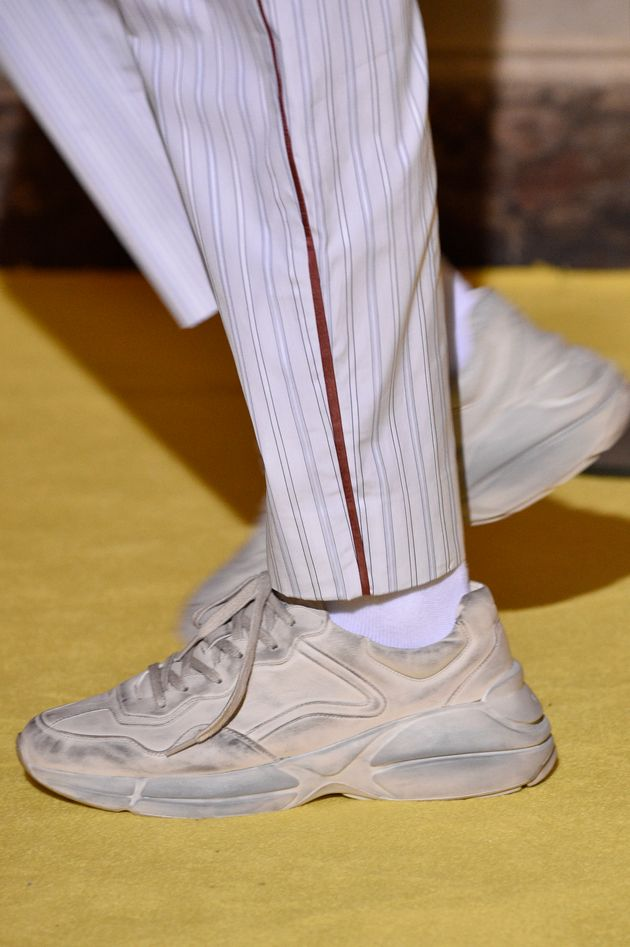 A model, shoe detail, walks the runway at the Gucci Cruise 2018 show at Palazzo Pitti on May 29, 2017...