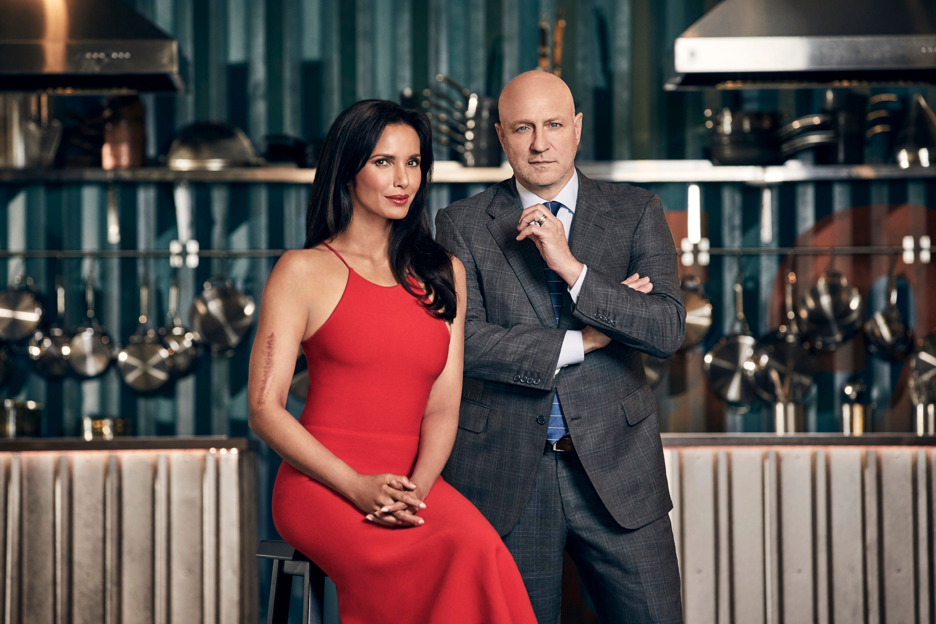 TOP CHEF -- Season:15 -- Pictured: (l-r) Padma Lakshmi, Tom Colicchio -- (Photo by: Tommy Garcia/Bravo/NBCU Photo Bank via Getty Images)