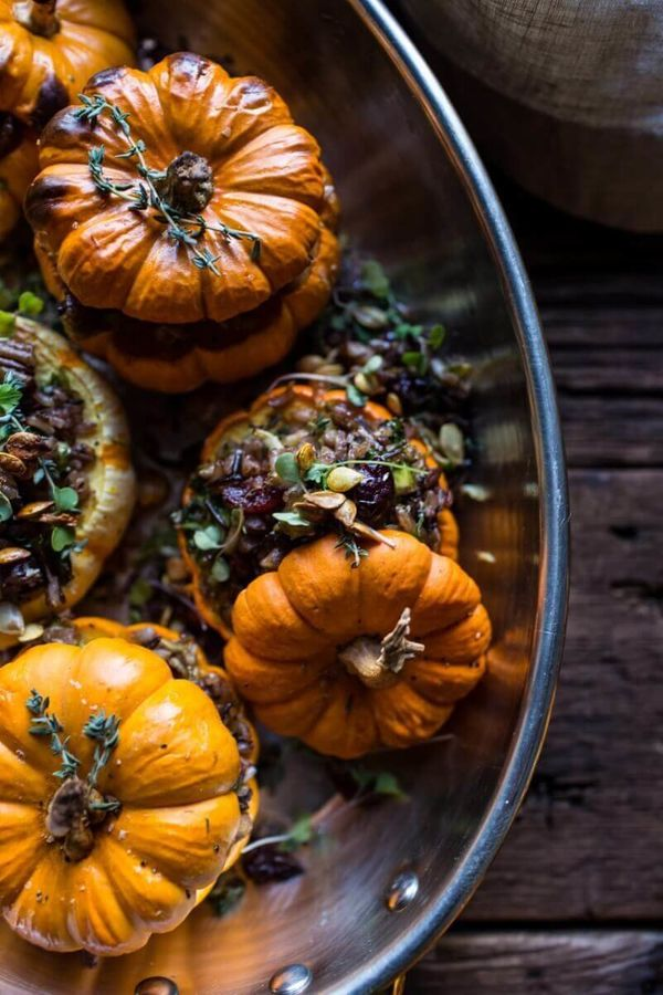 """<strong>Get the <a href=""""https://www.halfbakedharvest.com/nutty-wild-rice-and-shredded-brussels-sprout-stuffed-mini-pumpkins/"""